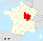Bourgogne région shown on map of France.