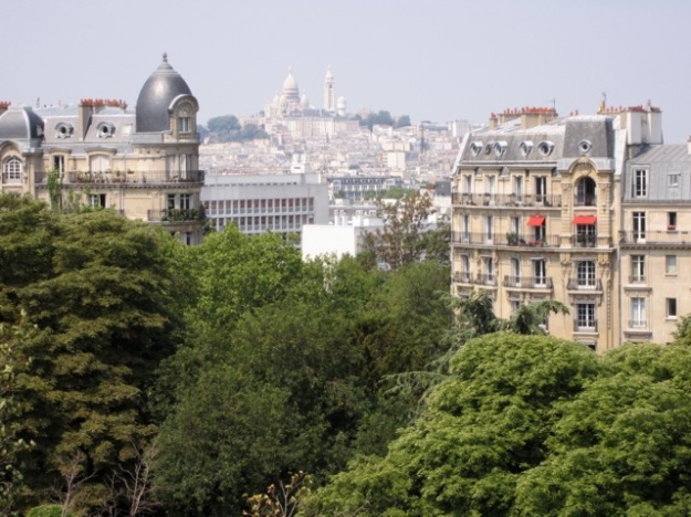 View of Sacre Coeur from Buttes-Chaumont park.