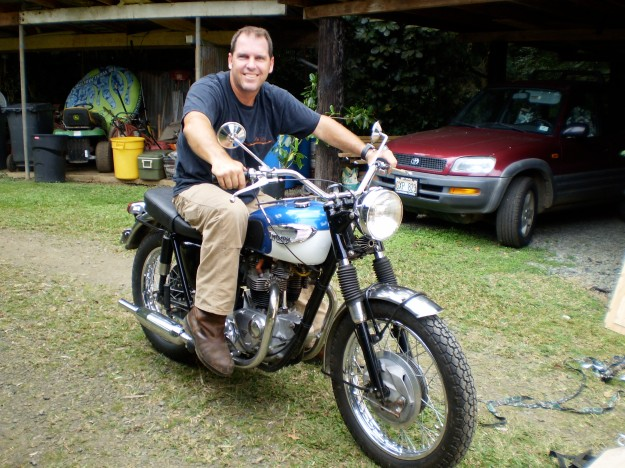 David has been a fan of vintage Triumph motorcycles since his college days.