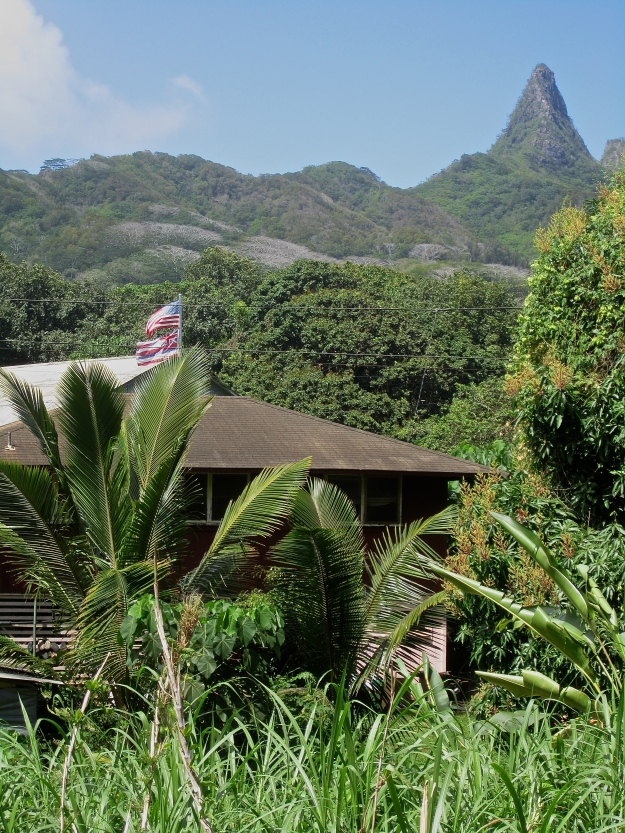 Neighboring house with Hawaiian flag and view of Mount Olomana,