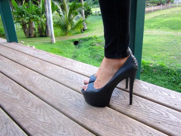 It's the six-inch platform heels.