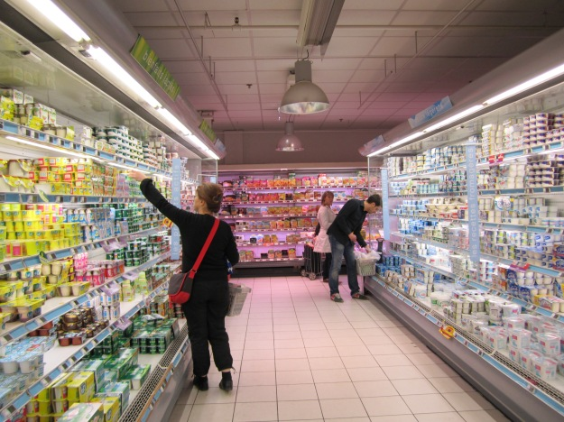Yogurt aisle at Monoprix