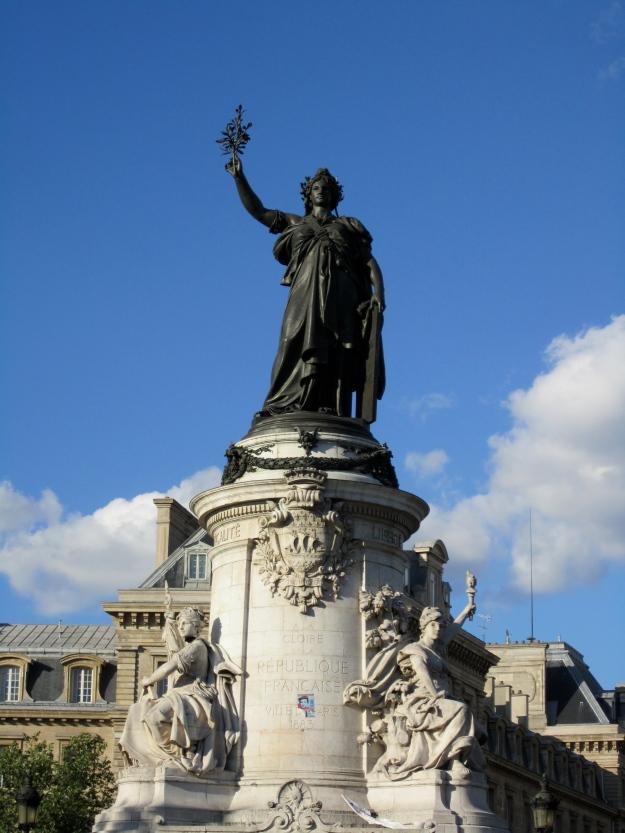 Statue of Marianne, symbol of the French Republic, at Place de la Réputlique.